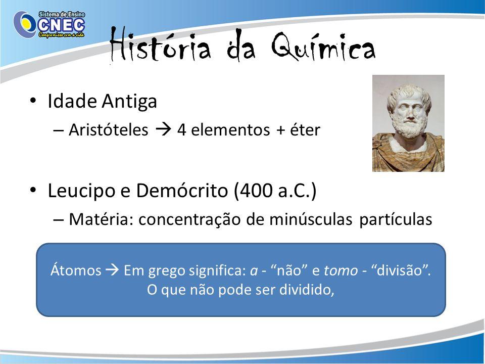História da Química Idade Antiga Leucipo e Demócrito (400 a.C.)