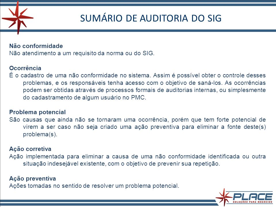SUMÁRIO DE AUDITORIA DO SIG