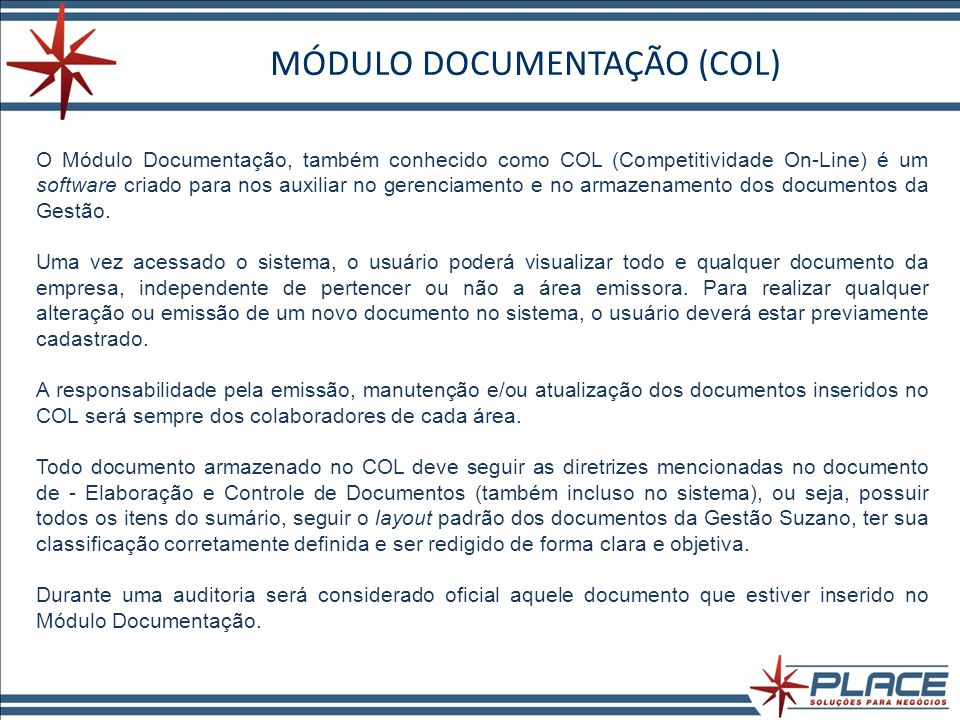 MÓDULO DOCUMENTAÇÃO (COL)