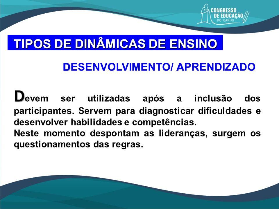 TIPOS DE DINÂMICAS DE ENSINO