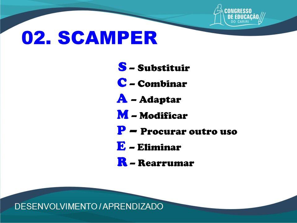 02. SCAMPER S – Substituir C – Combinar A – Adaptar M – Modificar
