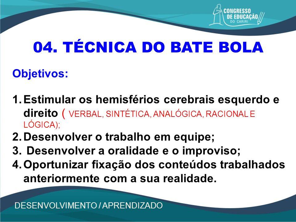 04. TÉCNICA DO BATE BOLA Objetivos:
