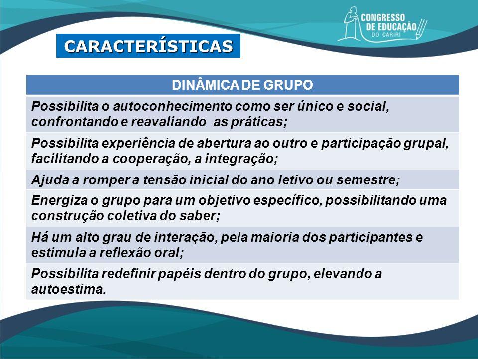 CARACTERÍSTICAS DINÂMICA DE GRUPO
