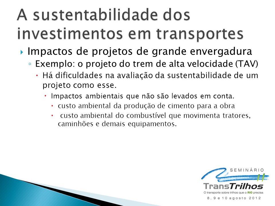 A sustentabilidade dos investimentos em transportes