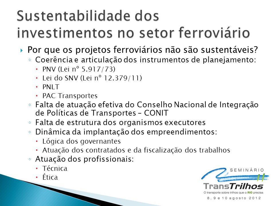 Sustentabilidade dos investimentos no setor ferroviário