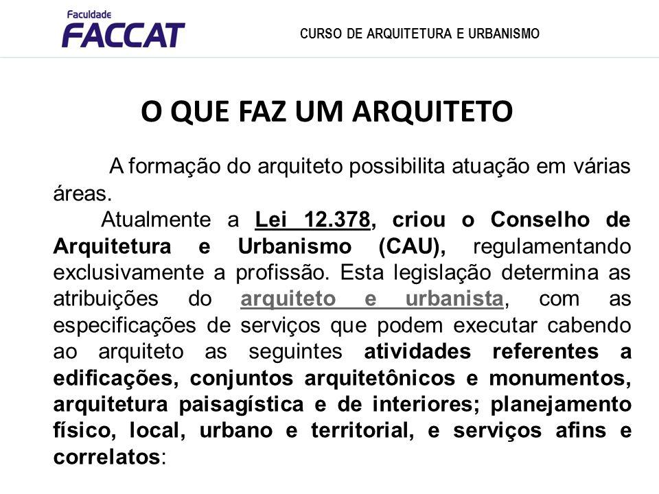 CURSO DE ARQUITETURA E URBANISMO