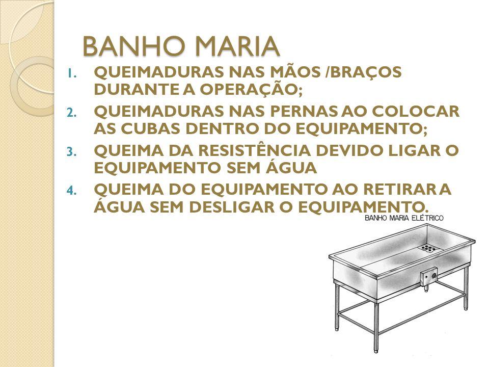 BANHO MARIA QUEIMADURAS NAS MÃOS /BRAÇOS DURANTE A OPERAÇÃO;