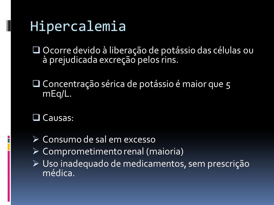 Hipercalemia Ocorre devido à liberação de potássio das células ou à prejudicada excreção pelos rins.