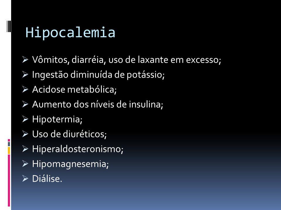 Hipocalemia Vômitos, diarréia, uso de laxante em excesso;