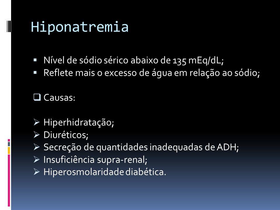 Hiponatremia Nível de sódio sérico abaixo de 135 mEq/dL;