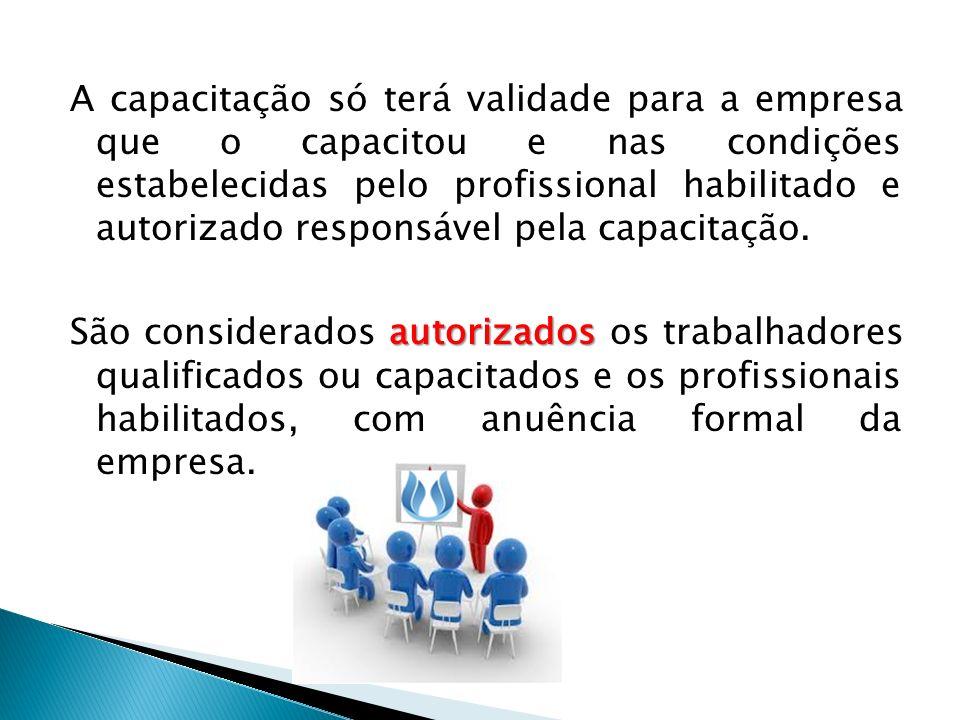 A capacitação só terá validade para a empresa que o capacitou e nas condições estabelecidas pelo profissional habilitado e autorizado responsável pela capacitação.