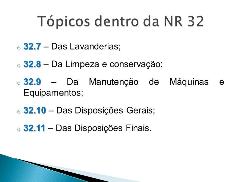 Tópicos dentro da NR 32 32.7 – Das Lavanderias;