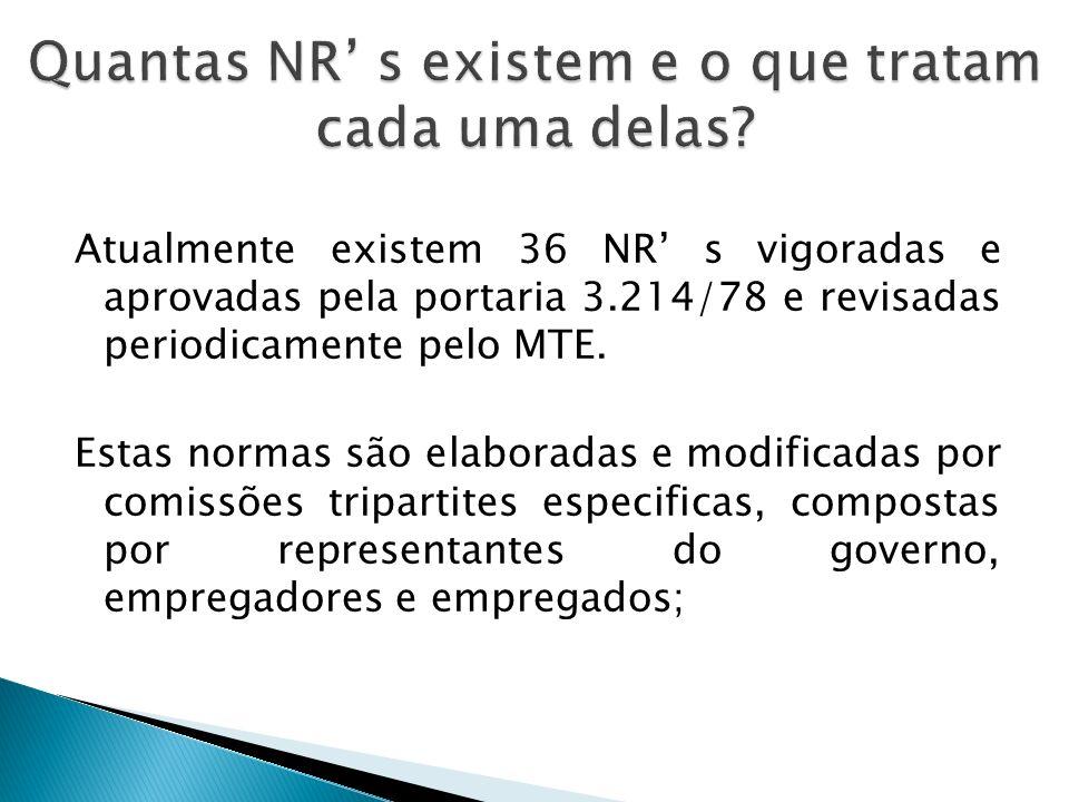 Quantas NR' s existem e o que tratam cada uma delas