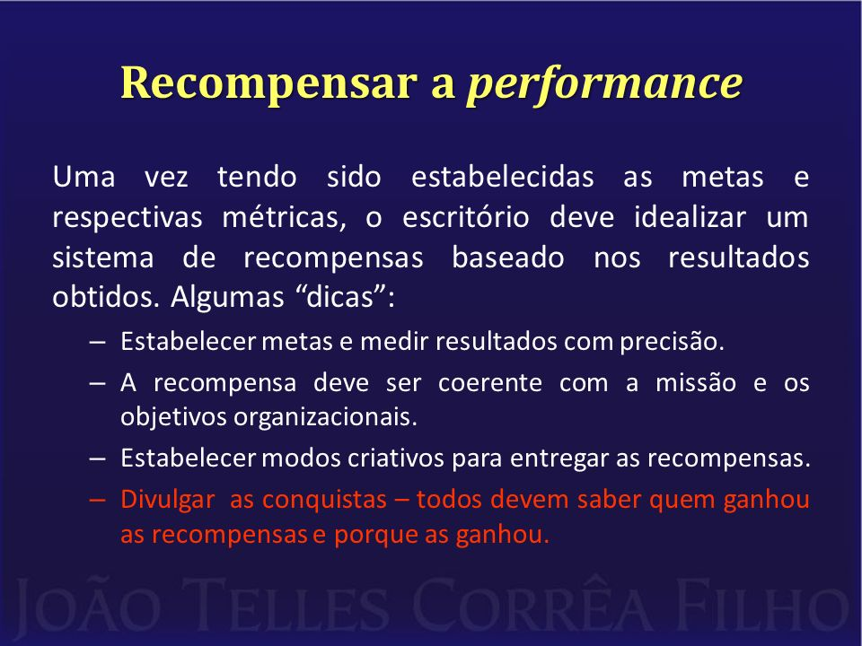 Recompensar a performance
