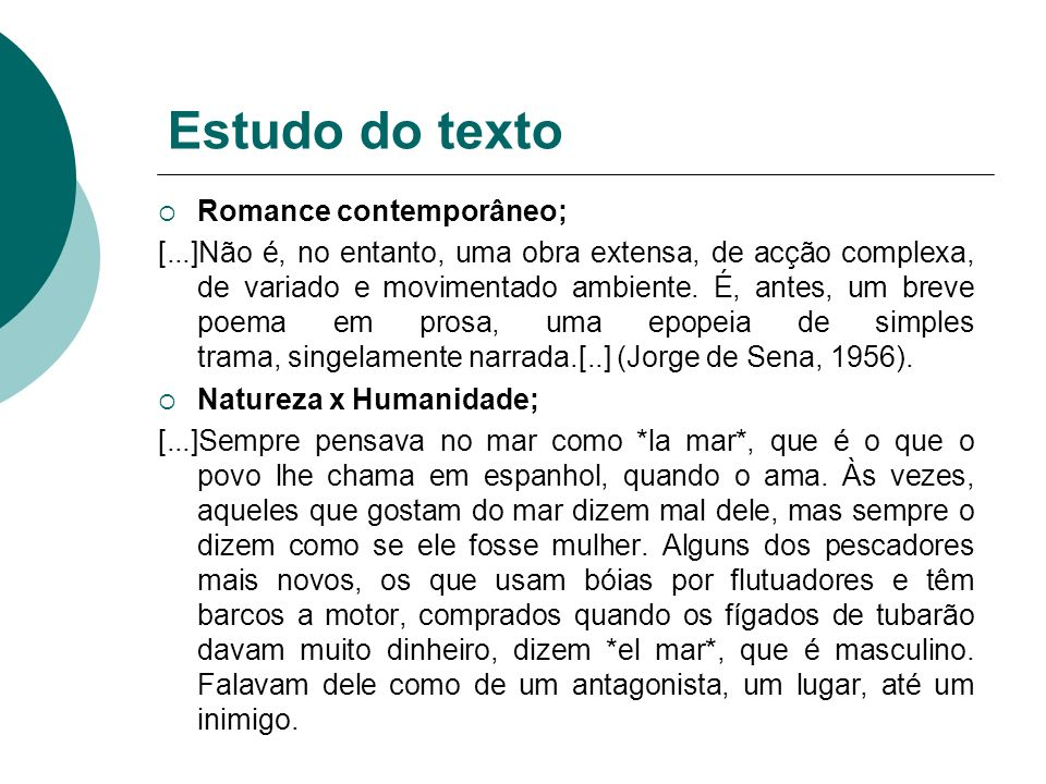 Estudo do texto Romance contemporâneo;