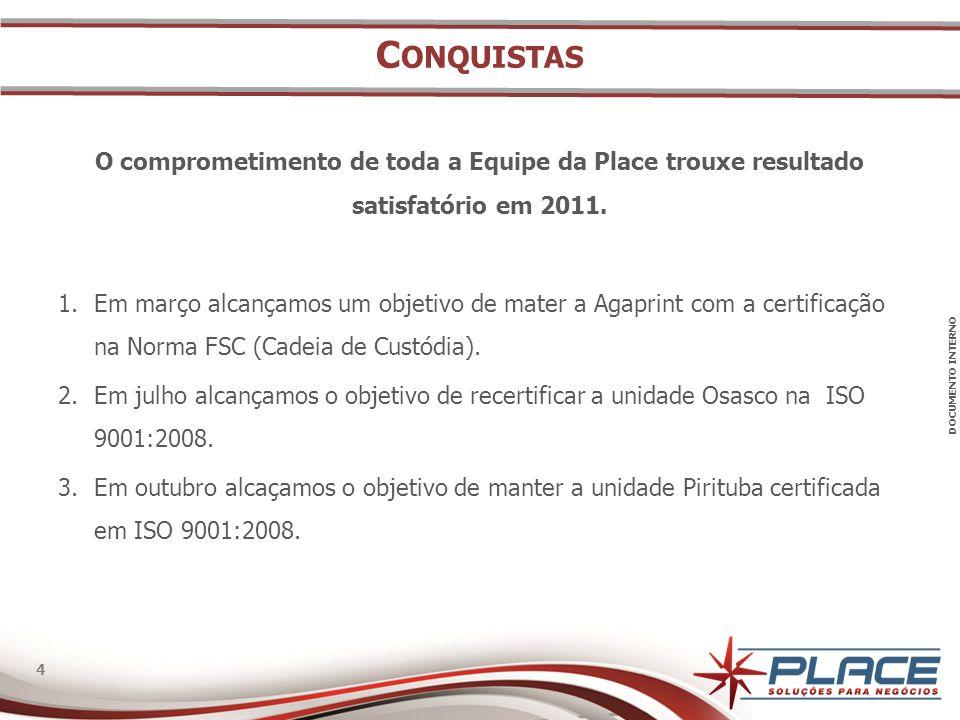 Conquistas O comprometimento de toda a Equipe da Place trouxe resultado satisfatório em 2011.