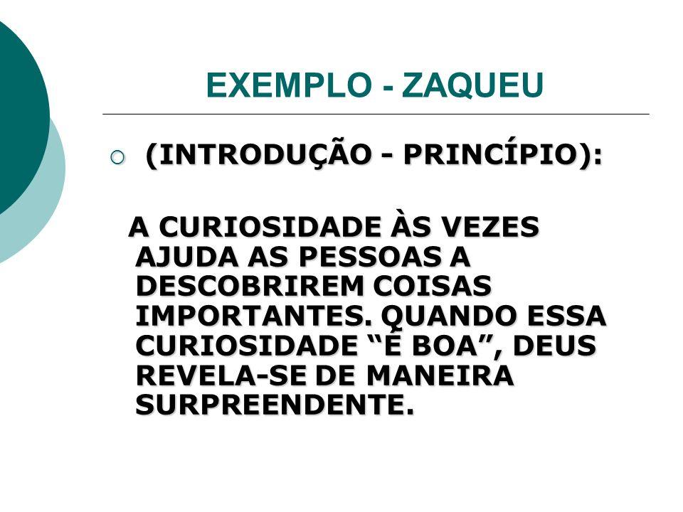 EXEMPLO - ZAQUEU (INTRODUÇÃO - PRINCÍPIO):