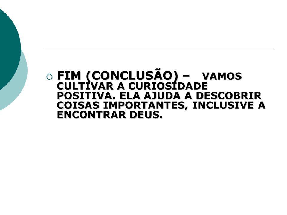 FIM (CONCLUSÃO) – VAMOS CULTIVAR A CURIOSIDADE POSITIVA