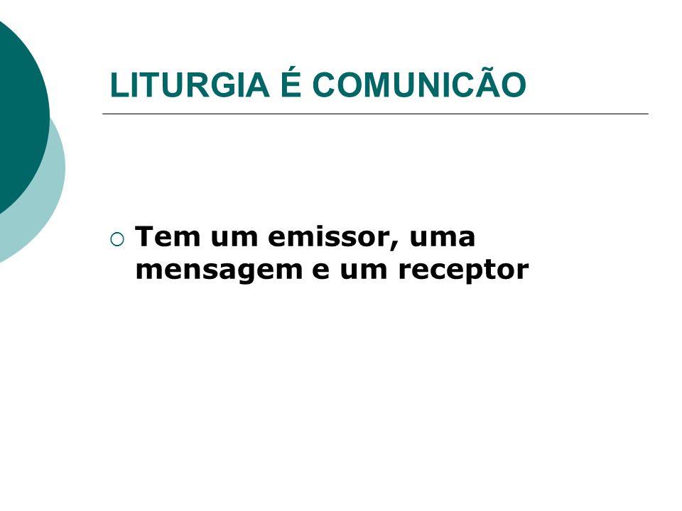 LITURGIA É COMUNICÃO Tem um emissor, uma mensagem e um receptor