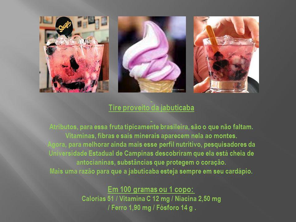 Tire proveito da jabuticaba Em 100 gramas ou 1 copo: