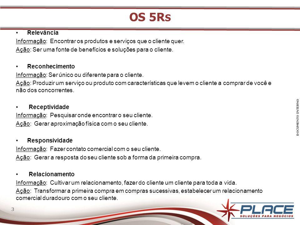 OS 5Rs Relevância. Informação: Encontrar os produtos e serviços que o cliente quer. Ação: Ser uma fonte de benefícios e soluções para o cliente.