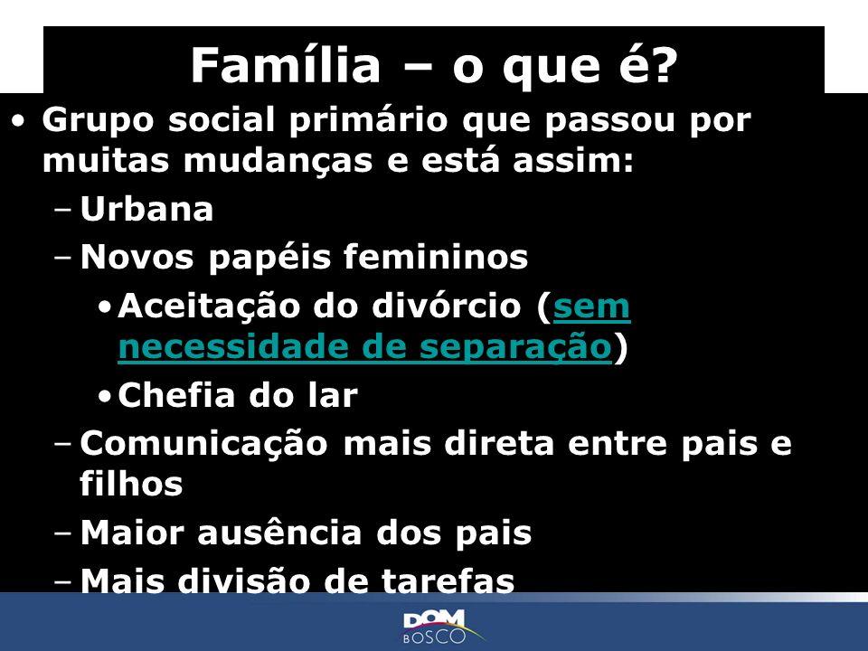 Família – o que é Grupo social primário que passou por muitas mudanças e está assim: Urbana. Novos papéis femininos.