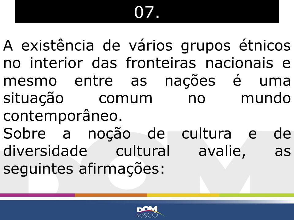 07. A existência de vários grupos étnicos no interior das fronteiras nacionais e mesmo entre as nações é uma situação comum no mundo contemporâneo.