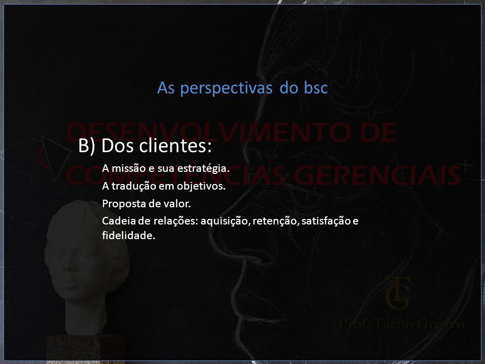 B) Dos clientes: As perspectivas do bsc A missão e sua estratégia.