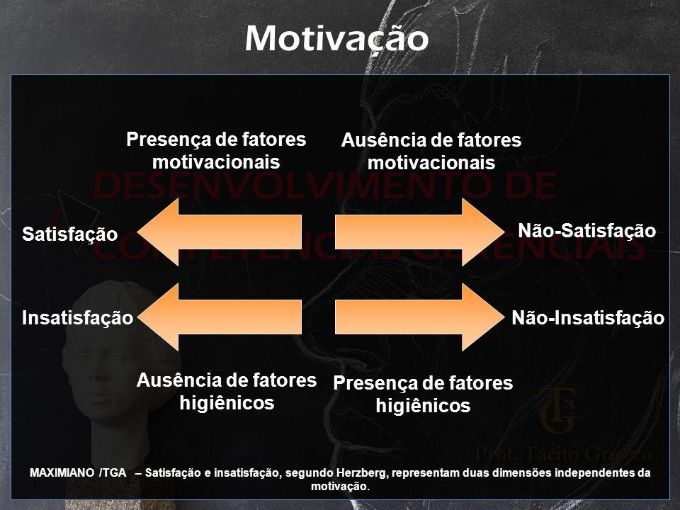 Motivação Presença de fatores motivacionais