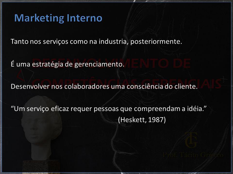 Marketing InternoTanto nos serviços como na industria, posteriormente. É uma estratégia de gerenciamento.