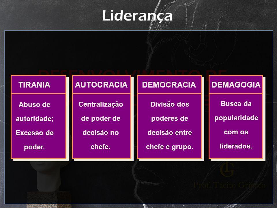 Liderança TIRANIA AUTOCRACIA DEMOCRACIA DEMAGOGIA Abuso de autoridade;