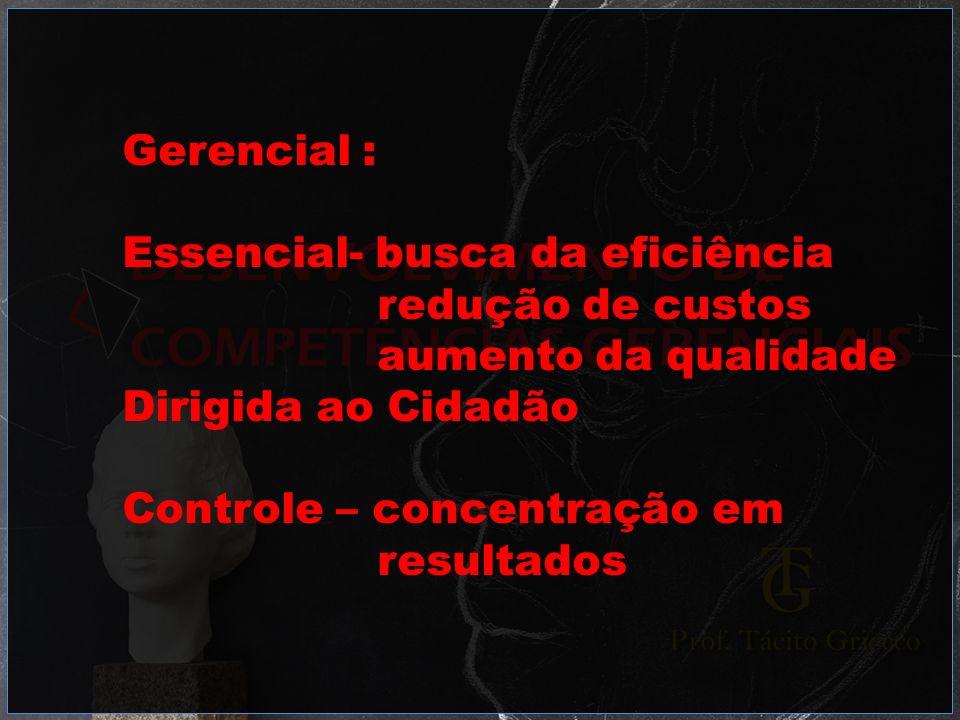 Gerencial :Essencial- busca da eficiência. redução de custos. aumento da qualidade. Dirigida ao Cidadão.