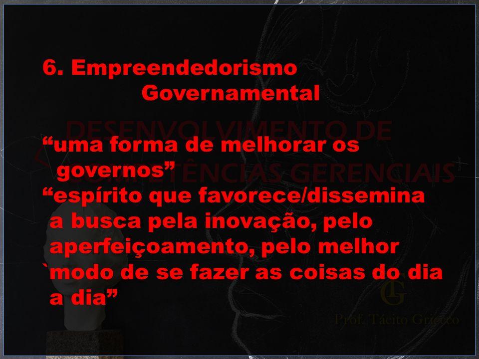 6. EmpreendedorismoGovernamental. uma forma de melhorar os. governos espírito que favorece/dissemina.