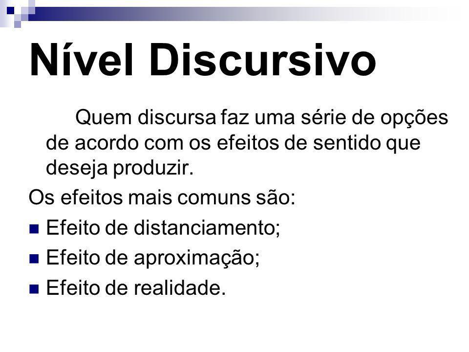 Nível Discursivo Quem discursa faz uma série de opções de acordo com os efeitos de sentido que deseja produzir.