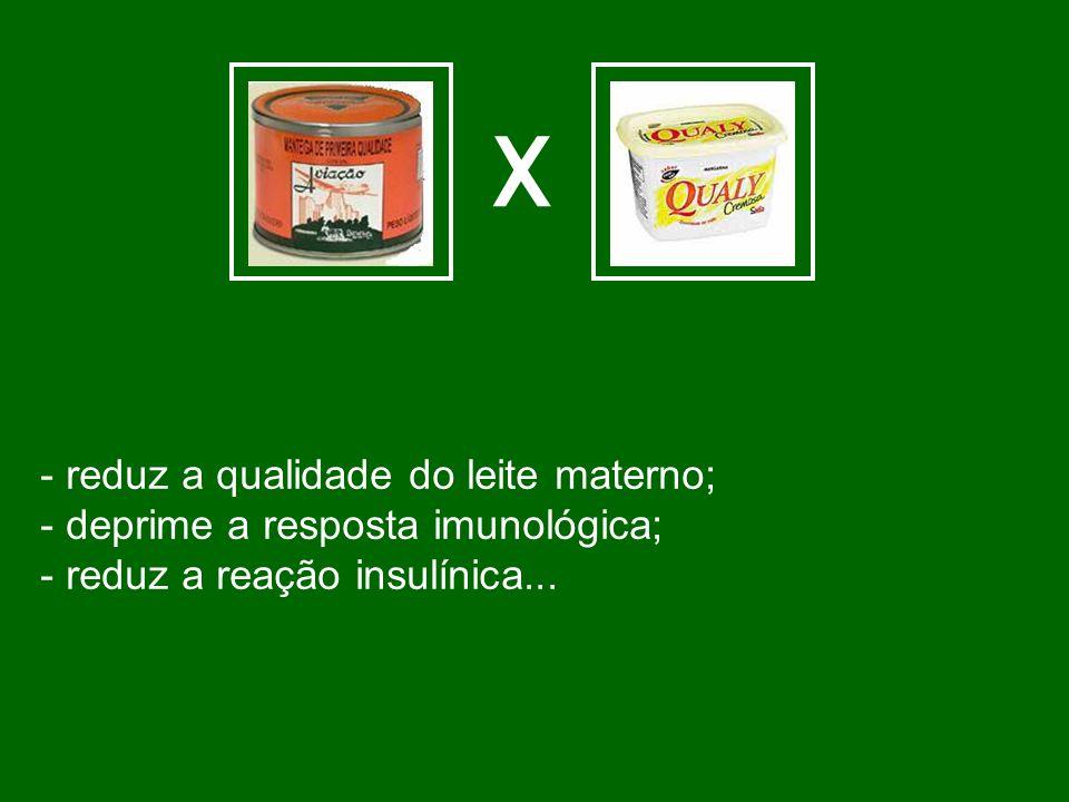 X - reduz a qualidade do leite materno;