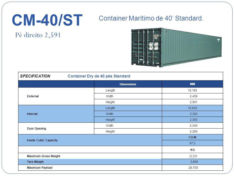 CM-40/ST Pé direito 2,591 Container Marítimo de 40' Standard.