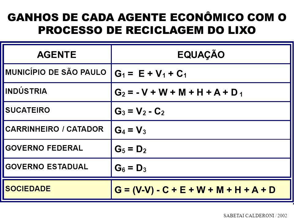 GANHOS DE CADA AGENTE ECONÔMICO COM O PROCESSO DE RECICLAGEM DO LIXO