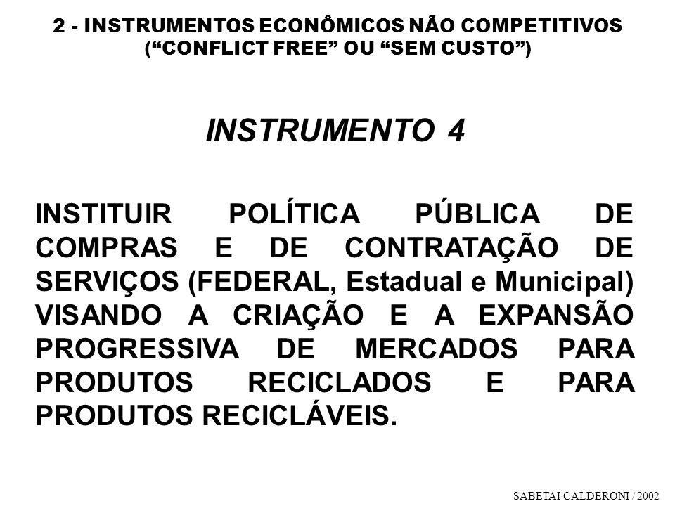 2 - INSTRUMENTOS ECONÔMICOS NÃO COMPETITIVOS ( CONFLICT FREE OU SEM CUSTO )