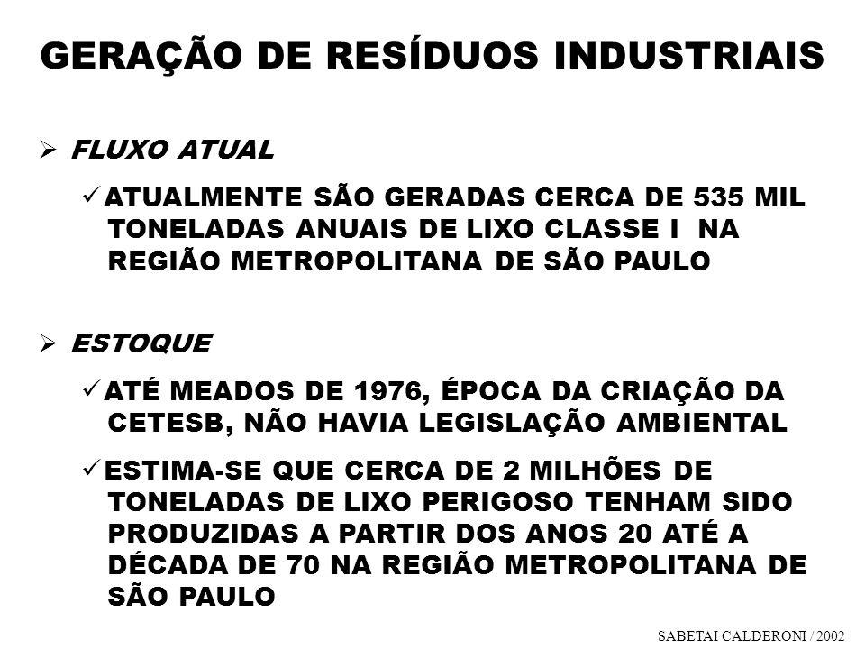 GERAÇÃO DE RESÍDUOS INDUSTRIAIS