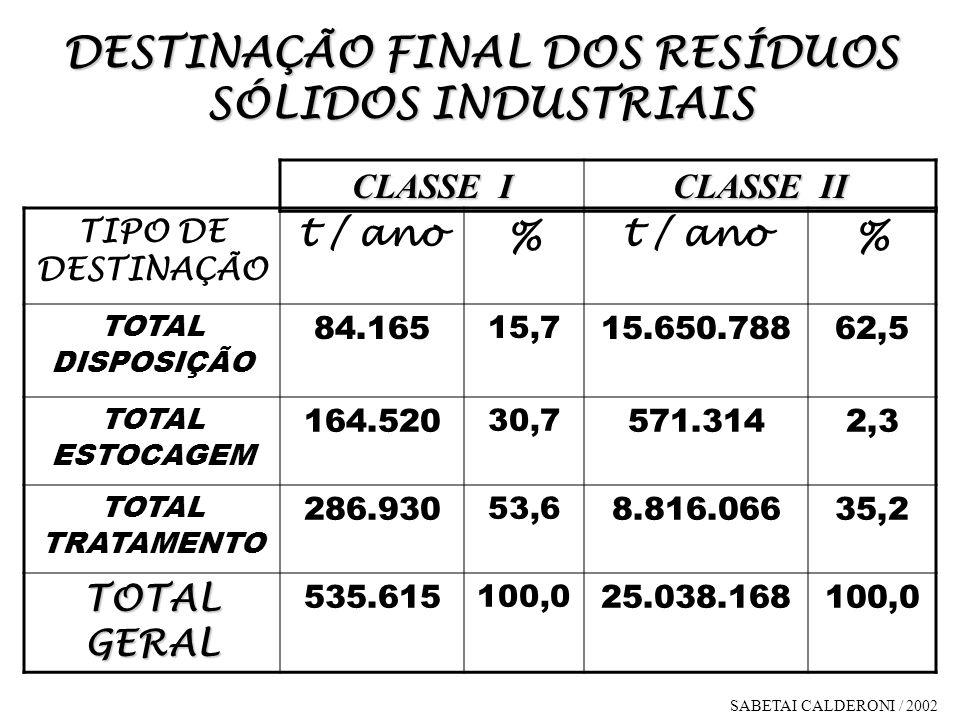DESTINAÇÃO FINAL DOS RESÍDUOS SÓLIDOS INDUSTRIAIS