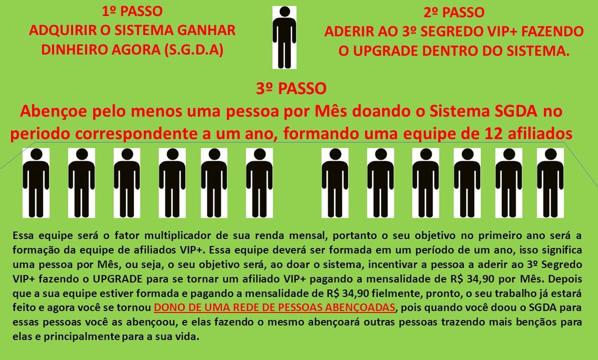 1º PASSO ADQUIRIR O SISTEMA GANHAR DINHEIRO AGORA (S.G.D.A) 2º PASSO. ADERIR AO 3º SEGREDO VIP+ FAZENDO O UPGRADE DENTRO DO SISTEMA.
