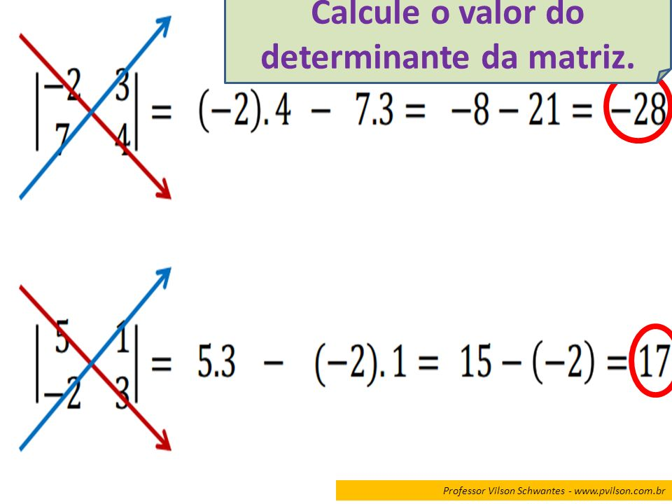 Calcule o valor do determinante da matriz.