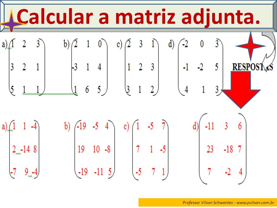 Calcular a matriz adjunta.