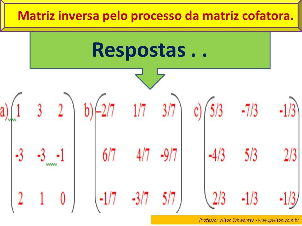 Matriz inversa pelo processo da matriz cofatora.