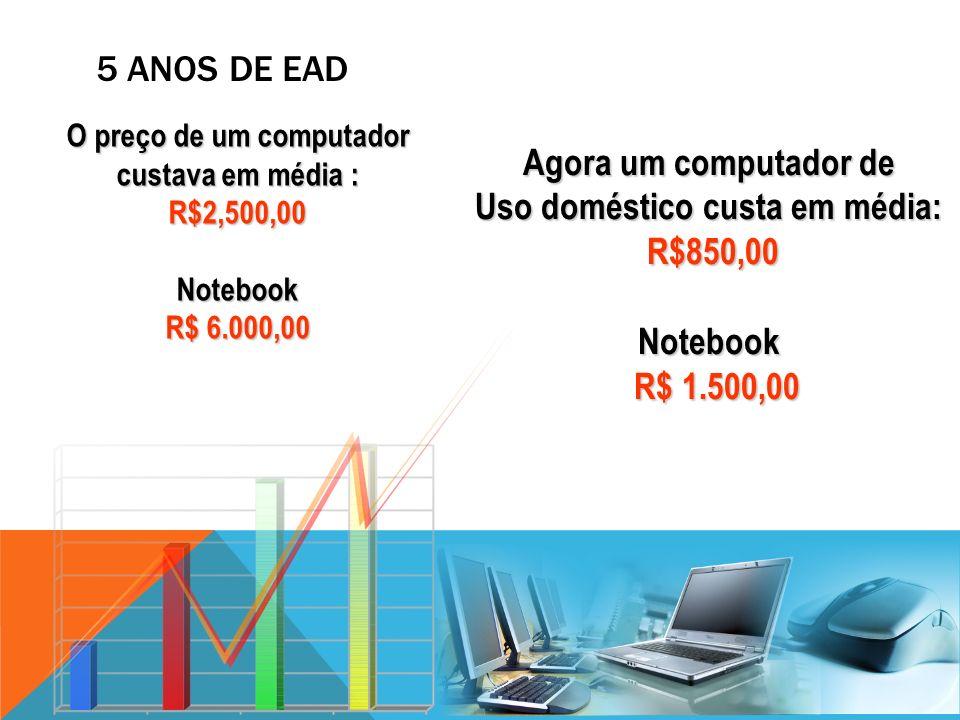 Uso doméstico custa em média: R$850,00 Notebook R$ 1.500,00