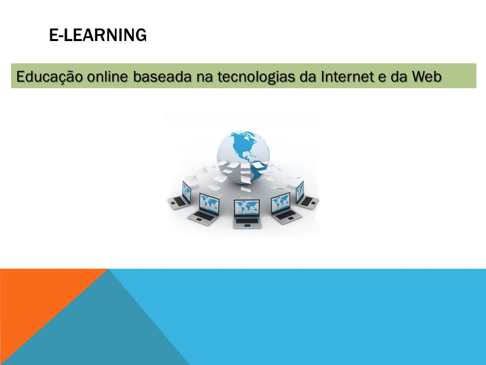 E-Learning Educação online baseada na tecnologias da Internet e da Web