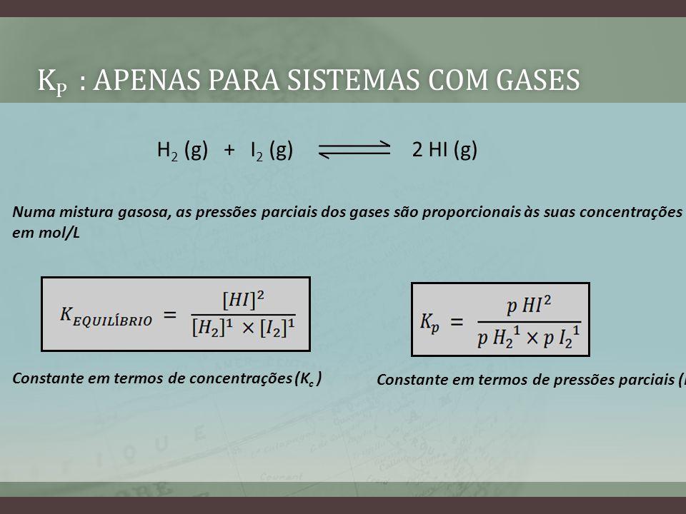 Kp : Apenas para sistemas com gases