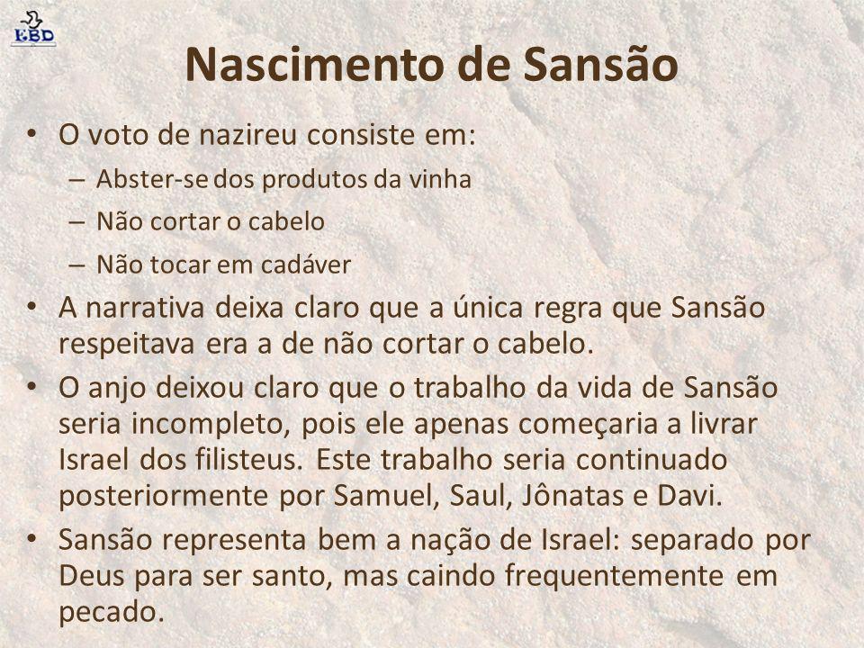 Nascimento de Sansão O voto de nazireu consiste em: