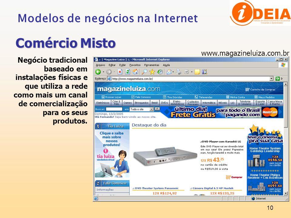Comércio Misto Modelos de negócios na Internet