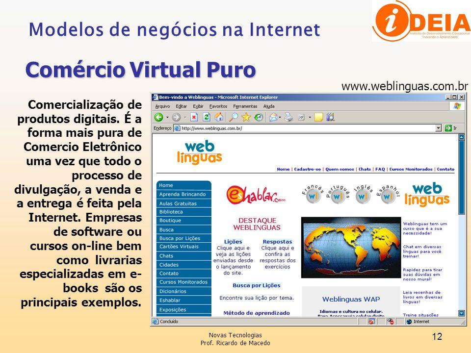Comércio Virtual Puro Modelos de negócios na Internet